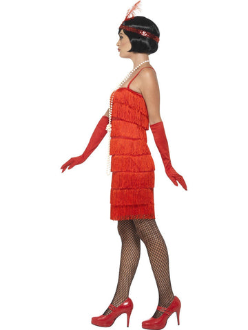 1920's Shorter Red Fringed Flapper Adult Costume For Sale side