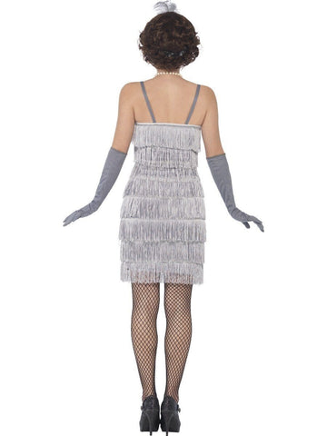 1920's Shorter Silver Fringed Flapper Adult Costume For Sale back