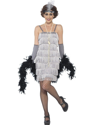 1920's Shorter Silver Fringed Flapper Adult Costume For Sale
