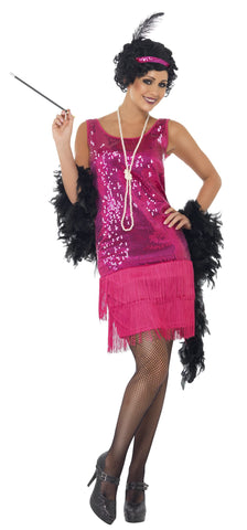 1920s Fun Time Hot Pink Flapper Costume 20's Fancy Dress