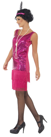 1920s Fun Time Hot Pink Flapper Costume 20's Fancy Dress side