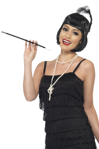 1920s Gatsby Flapper Wig and Accessories Dress Up Costume Set