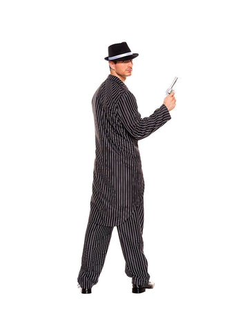 1920s Mafia Gatsby Gangster Pin Striped Zoot Suit Mens Costume back
