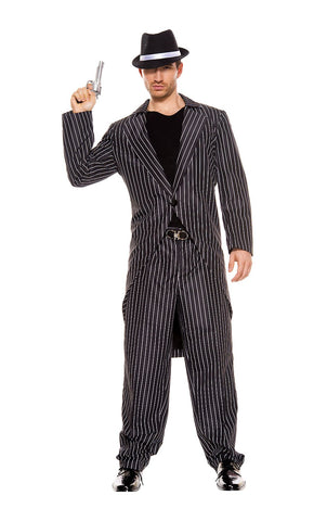 1920s Mafia Gatsby Gangster Pin Striped Zoot Suit Mens Costume