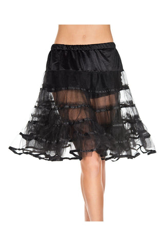 1950's Retro Rock n Roll Long Layered Tulle Petticoat Black