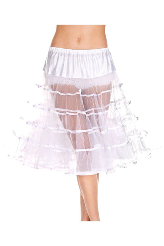 1950's Retro Rock n Roll Long Layered Tulle Petticoat White