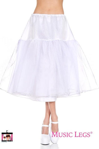 1950's Retro Rock n Roll Long Trim White Tulle Petticoat