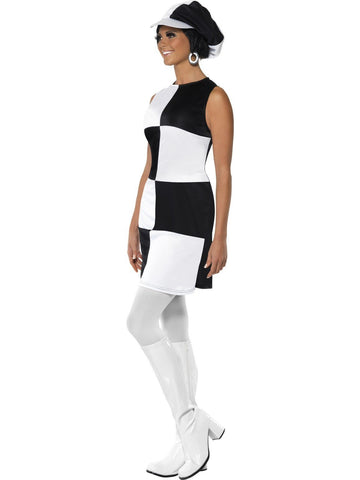 1960s Party Girl Mod Womens Black and White Groovy 1970s Go Go Costume profile