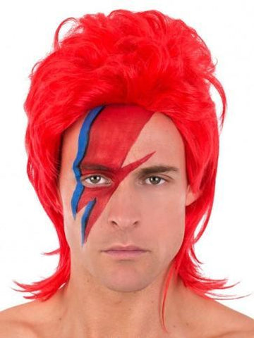 1970s glam rock punk red Ziggy mullet wig.