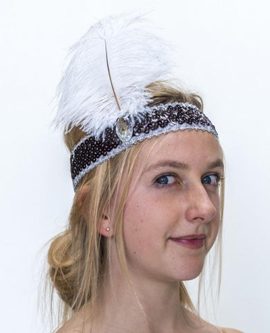 20's Headband Black Sequin With White Feather