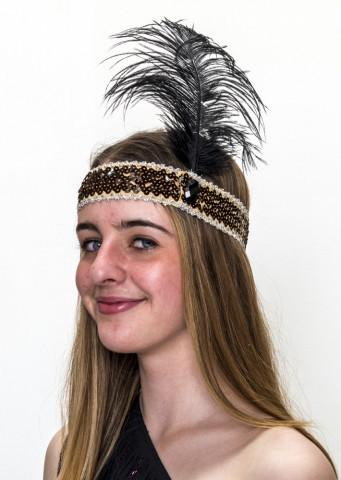 20s Headband Black Sequined with Black Feather