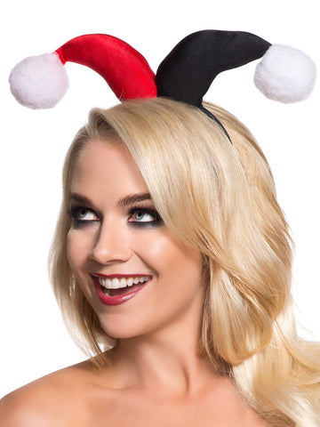 Harley Quinn Headband Accessory for Adults close up headpiece head