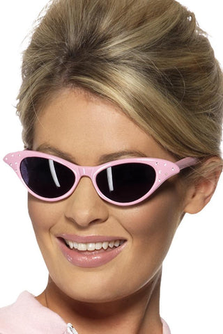 50s Pink Ladies Rock and Roll Sunglasses with Diamantes