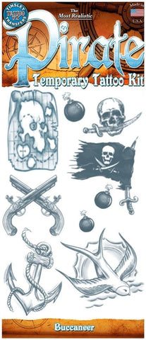 Fake Temporary Tattoo Pirate Buccaneer Costume Kit Makeup