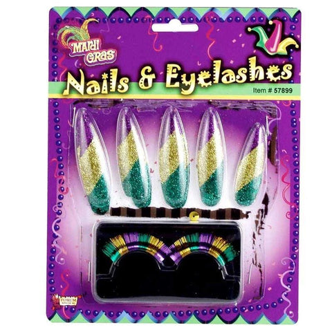 Mardi Gras Nail and Lashes Accessory Set