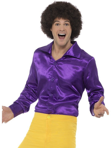 60s 70s Groovy Mens Purple Satin Disco Shirt