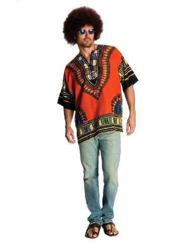 60s 70s Hippie Shirt and Afro Wig Accessories Dress Up Costume Set