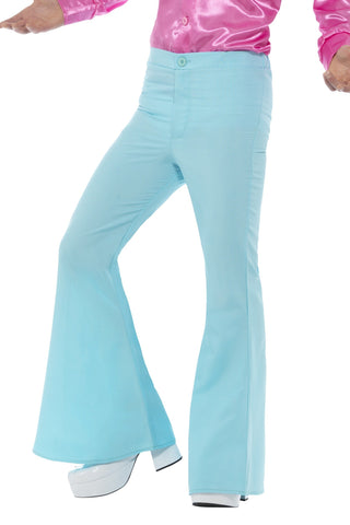 60s 70s Light Blue Flares Retro Bell Bottoms Disco Flared Trousers
