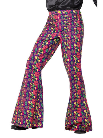 60s 70s Psychedelic CND Peace Sign Hippy Mens Flares