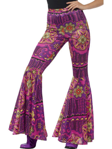 60s 70s Psychedelic Printed Womens Stretch Flares