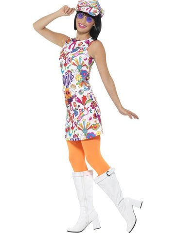 60s Groovy Chick Go Go Girl Ladies Fancy Dress Costume side