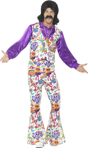 60s Groovy Hippie Mens Disco Flares and Vest Suit