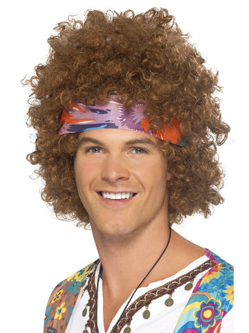 60s Hippy Brown Afro Wig