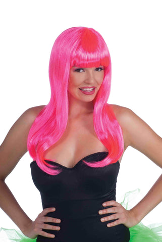 Neon Pink Wig for Adults