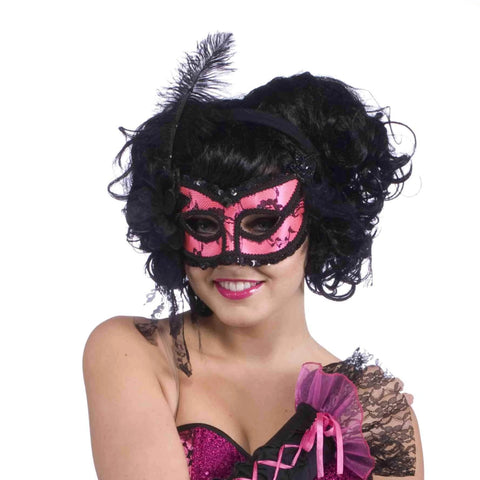 Pink & Black Burlesque Half Mask for Adults