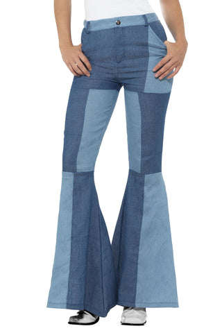 70s Deluxe Double Denim Patchwork Ladies Flares