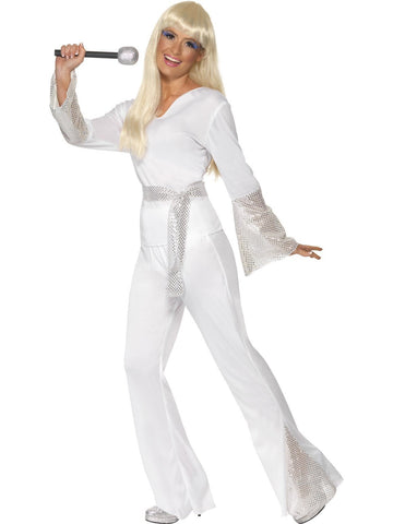 70s White Sequin Disco Women's Costume