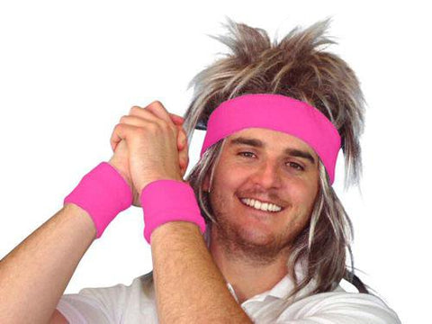 80's Costume Tennis Headbands And Wristband Set pink