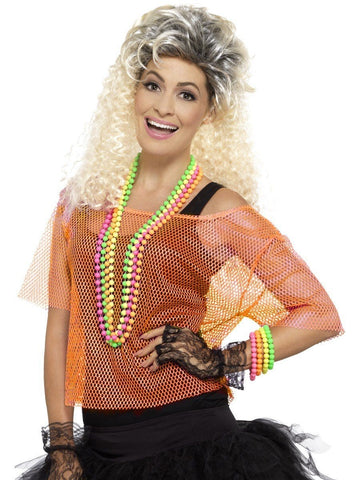 80s Fishnet Neon Orange Costume Top