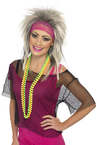 80s Popstar Mesh Black Fishnet Costume Top