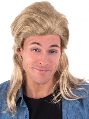 Blonde 80's bogan mullet costume wig