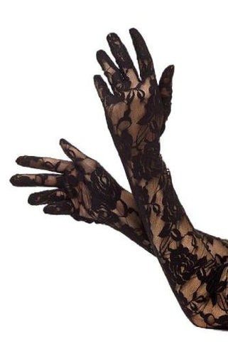 Black long lace burlesque ladies gloves