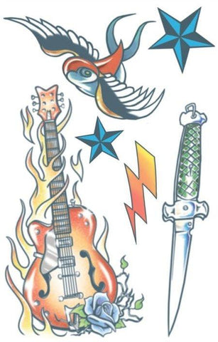 Fake Tattoos 80s Rock Star  Costume Kit Makeup