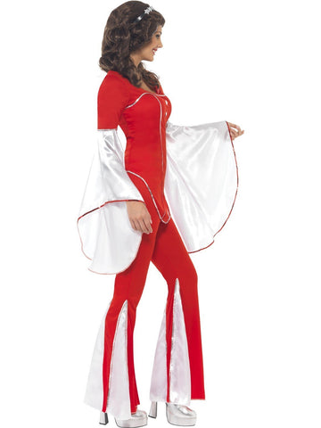 Abba 70s Super Trooper Red and White Flares Pant Suit Fancy Dress Costume side