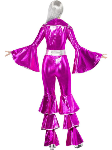 Ladies Pink 70s Disco Girl Pop Star Flares Fancy Dress Party Rockstar Costume
