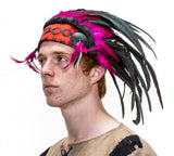 American Native Indian Headdress with Red and Black Feathers