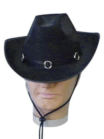 Black Costume Cowboy Hat with Black Band and Silver Buckles