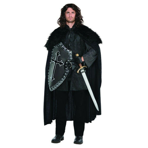 Black Furry Men's Medieval Cloak with shield and sword