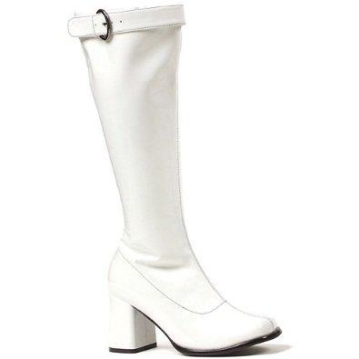 White 70s knee hi boots with wide calf setting