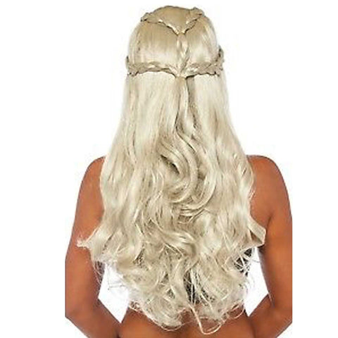 Braided Long Wavy Blonde Mother of Dragons Wig back