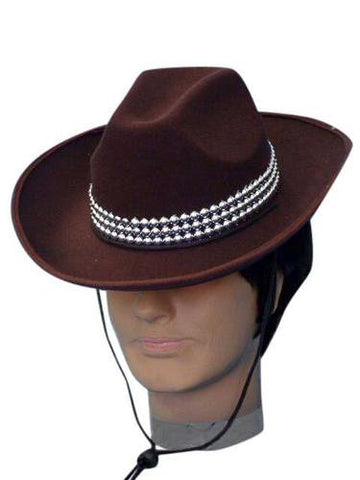 Brown Costume Cowboy Hat with Silver Band