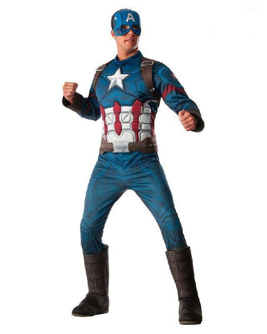 Captain America Costume Civil War Superhero Marvel Adult Fancy Dress