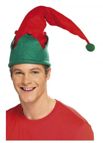 Christmas Elf Long Hat with Pom Poms