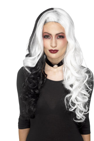 Cruel Evil Dalmatian Madame Black and White Wig