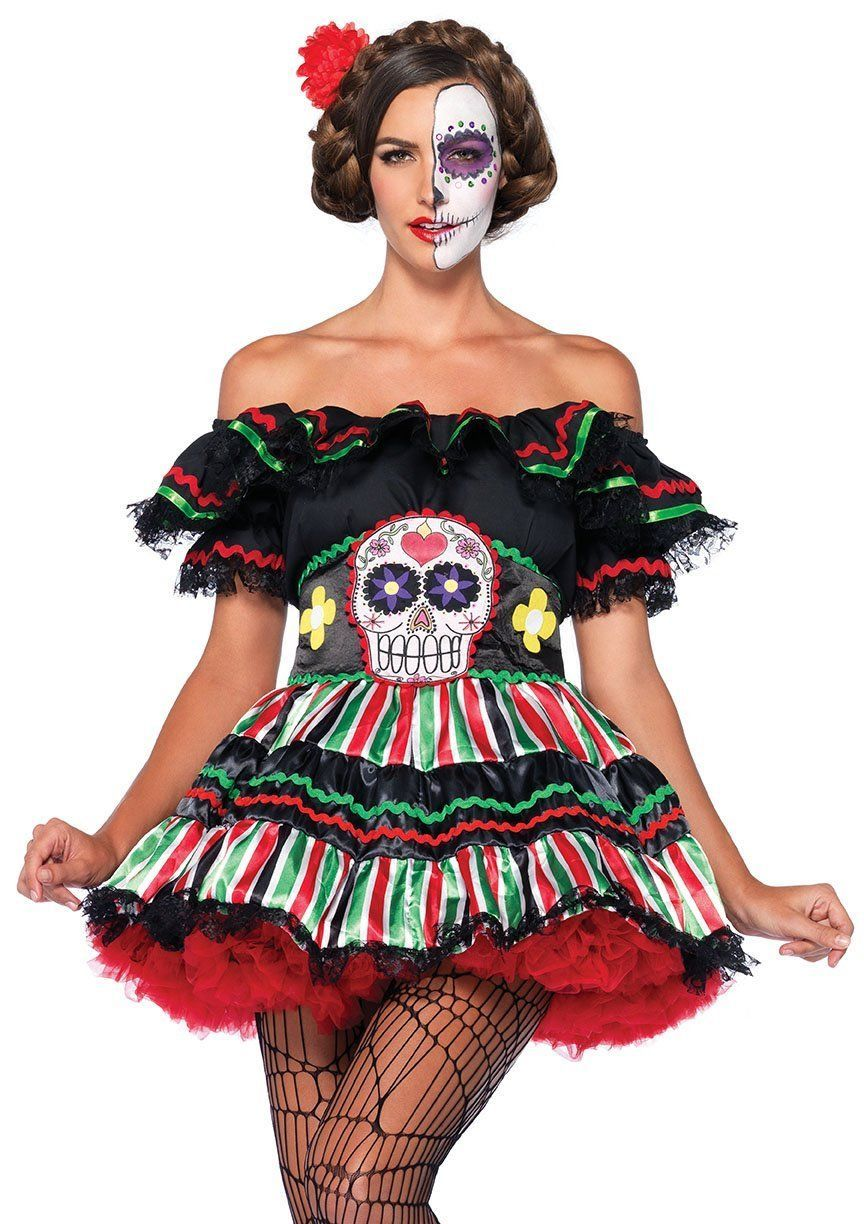 Day of the Dead Doll Mexican Sugar Skull Halloween Costume ...