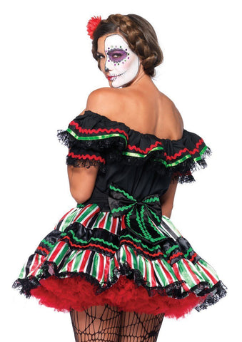 Day of the Dead Doll Mexican Sugar Skull Halloween Costume back